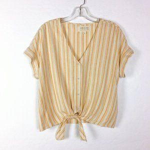 Cloth & Stone Anthropologie Tie-Front Striped Top